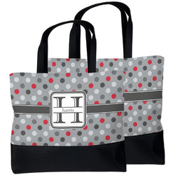 Red & Gray Polka Dots Beach Tote Bag (Personalized)