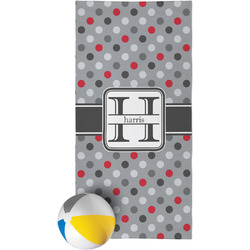 Red & Gray Polka Dots Beach Towel (Personalized)