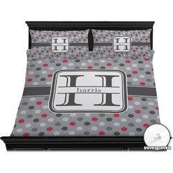 Red & Gray Polka Dots Duvet Cover Set - King (Personalized)