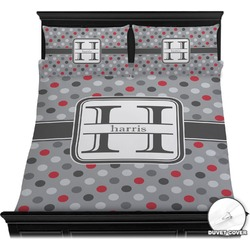 Red & Gray Polka Dots Duvet Cover Set (Personalized)