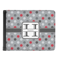 Red & Gray Polka Dots Genuine Leather Men's Bi-fold Wallet (Personalized)