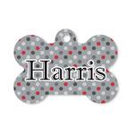 Red & Gray Polka Dots Bone Shaped Dog ID Tag (Personalized)