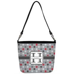 Red & Gray Polka Dots Bucket Bag w/ Genuine Leather Trim (Personalized)