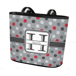 Red & Gray Polka Dots Bucket Tote w/ Genuine Leather Trim (Personalized)