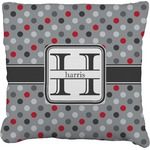 Red & Gray Polka Dots Faux-Linen Throw Pillow (Personalized)