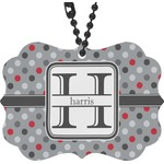 Red & Gray Polka Dots Rear View Mirror Decor (Personalized)