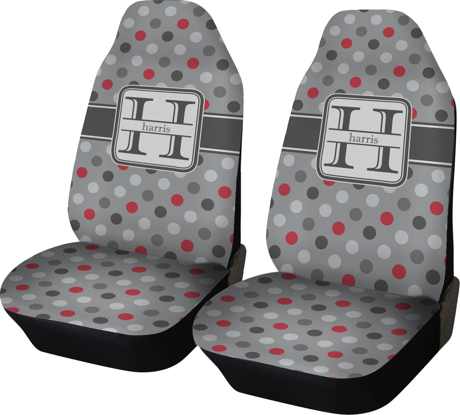 Red Gray Polka Dots Car Seat Covers Set Of Two Personalized