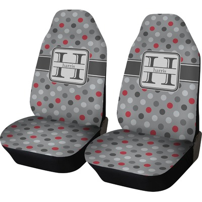 Red & Gray Polka Dots Car Seat Covers (Set of Two) (Personalized)