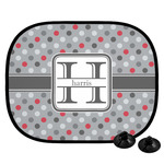 Red & Gray Polka Dots Car Side Window Sun Shade (Personalized)