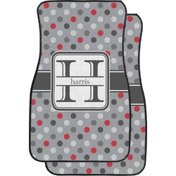 Red & Gray Polka Dots Car Floor Mats (Front Seat) (Personalized)