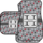 Red & Gray Polka Dots Car Floor Mats (Personalized)