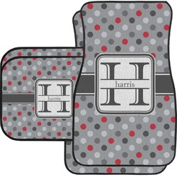 Red & Gray Polka Dots Car Floor Mats Set - 2 Front & 2 Back (Personalized)
