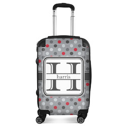 Red & Gray Polka Dots Suitcase (Personalized)
