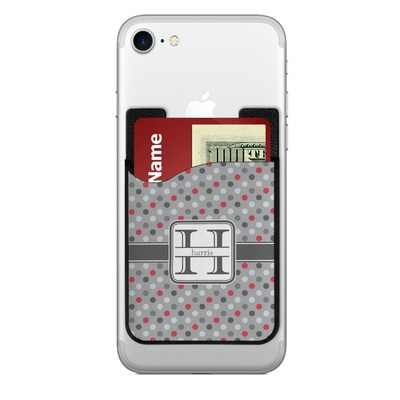 Red & Gray Polka Dots 2-in-1 Cell Phone Credit Card Holder & Screen Cleaner (Personalized)