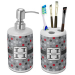 Red & Gray Polka Dots Ceramic Bathroom Accessories Set (Personalized)