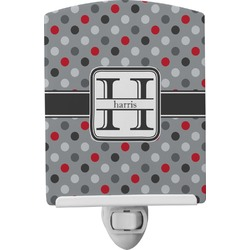 Red & Gray Polka Dots Ceramic Night Light (Personalized)