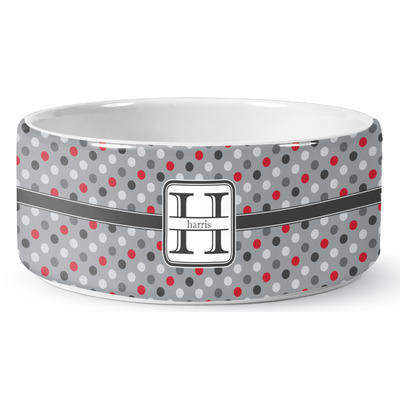 Red & Gray Polka Dots Ceramic Dog Bowl (Personalized)