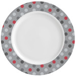 Red & Gray Polka Dots Ceramic Dinner Plates (Set of 4) (Personalized)