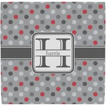 Red & Gray Polka Dots Ceramic Tile Hot Pad (Personalized)