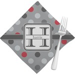 Red & Gray Polka Dots Napkins (Set of 4) (Personalized)