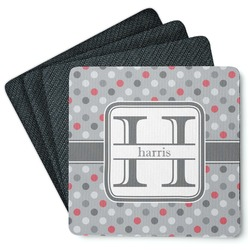 Red & Gray Polka Dots 4 Square Coasters - Rubber Backed (Personalized)