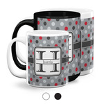 Red & Gray Polka Dots Coffee Mugs (Personalized)
