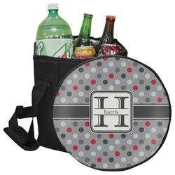 Red & Gray Polka Dots Collapsible Cooler & Seat (Personalized)