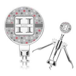 Red & Gray Polka Dots Corkscrew (Personalized)