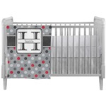 Red & Gray Polka Dots Crib Comforter / Quilt (Personalized)