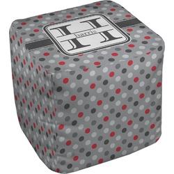 Red & Gray Polka Dots Cube Pouf Ottoman (Personalized)