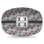 Red & Gray Polka Dots Plastic Platter - Microwave & Oven Safe Composite Polymer (Personalized)