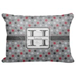 """Red & Gray Polka Dots Decorative Baby Pillowcase - 16""""x12"""" (Personalized)"""