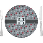 """Red & Gray Polka Dots Glass Lunch / Dinner Plates 10"""" - Single or Set (Personalized)"""