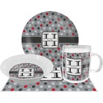 Red & Gray Polka Dots Dinner Set - 4 Pc (Personalized)