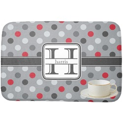 Red & Gray Polka Dots Dish Drying Mat (Personalized)
