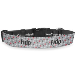 Red & Gray Polka Dots Deluxe Dog Collar (Personalized)
