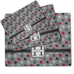 Red & Gray Polka Dots Dog Food Mat w/ Name and Initial