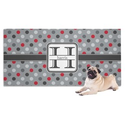 Red & Gray Polka Dots Pet Towel (Personalized)