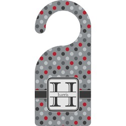 Red & Gray Polka Dots Door Hanger (Personalized)