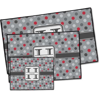 Red & Gray Polka Dots Door Mat (Personalized)