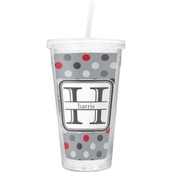 Red & Gray Polka Dots Double Wall Tumbler with Straw (Personalized)