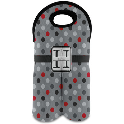 Red & Gray Polka Dots Wine Tote Bag (2 Bottles) (Personalized)