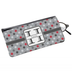 Red & Gray Polka Dots Genuine Leather Eyeglass Case (Personalized)