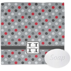 Red & Gray Polka Dots Wash Cloth (Personalized)