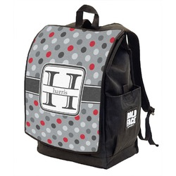Red & Gray Polka Dots Backpack w/ Front Flap  (Personalized)