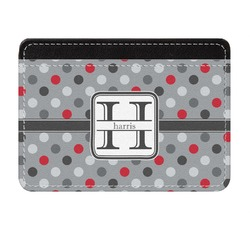 Red & Gray Polka Dots Genuine Leather Front Pocket Wallet (Personalized)