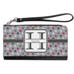 Red & Gray Polka Dots Genuine Leather Smartphone Wrist Wallet (Personalized)
