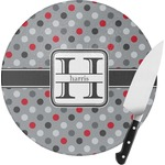 Red & Gray Polka Dots Round Glass Cutting Board (Personalized)