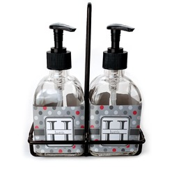 Red & Gray Polka Dots Soap & Lotion Dispenser Set (Glass) (Personalized)