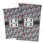 Red & Gray Polka Dots Golf Towel - Full Print w/ Name and Initial